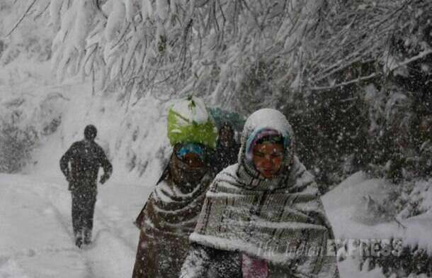 Fresh snowfall in Kashmir, US