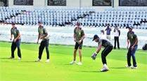 The Karnataka team at a practice session ahead of the Ranji Trophy final in Hyderabad on Tuesday.	 Express
