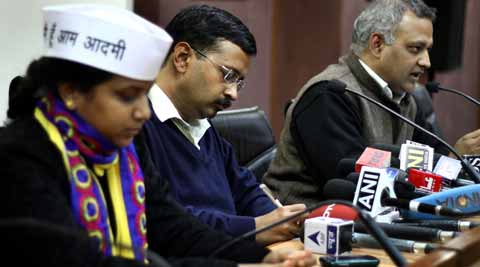 Delhi CM Arvind Kejriwal with ministers Somnath Bharti and Rakhi Birla during a press conference at Delhi secretariat in New Delhi. Express photo: Ravi Kanojia