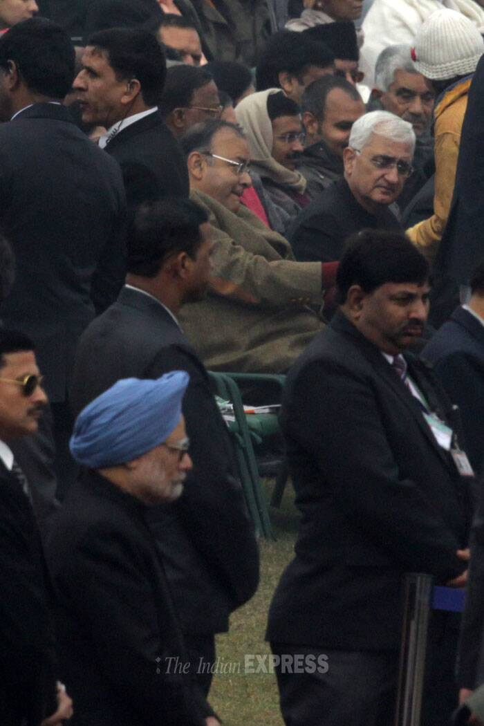 In a single frame – PM Manmohan Singh, Salman Khurshid, Leader of the opposition in Rajya Sabha Arun Jaitley and Delhi CM Arvind Kejriwal at the Republic Day parade. (IE Photo: Amit Mehra)