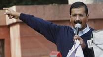 Kejriwal during dharna against Home Ministry