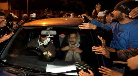 Chief Minister Arvind Kejriwal leaves after calling off his agitation against the Delhi Police on Tuesday evening. (IE Photo: Ravi Kanojia)