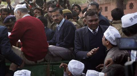 After two days of face-off with the police, Kejriwal called off the protest near the Rail Bhawan. (IE Photo: Amit Mehra)