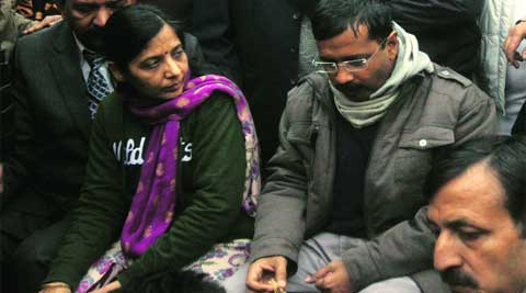 Kejriwal's wife Sunita brought food for him and his supporters.