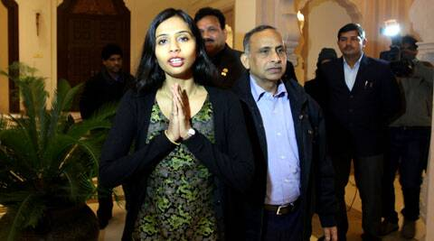 Diplomat Devyani Khobragade with her father Uttam at the Maharashtra sadan, in New Delhi. (IE Photo: Ravi Kanojia)
