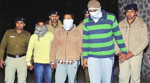 The three accused at the crime branch office in Chandigarh on Tuesday. (Kshitij Mohan)