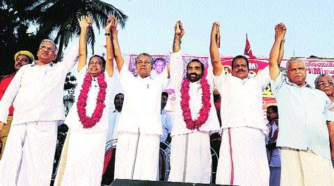 Pinarayi Vijayan flanked by O K Vasu (left) and A Ashokan, BJP rebels-turned-comrades.S K Mohan