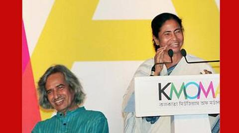 Painter Jogen Chowdhury with Mamata Banerjee. PTI