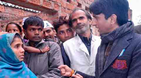 AAP leader Kumar Vishwas at Sunita's house, where Congress vice-president Rahul Gandhi had spent a night in 2008, in Amethi on Monday.