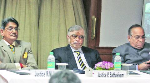 (L-R) R M Lodha, P Sathasivam and A K Patnaik at the function to launch village legal services aid clinics in Delhi, on Friday. (Photo: Amit Mehra)