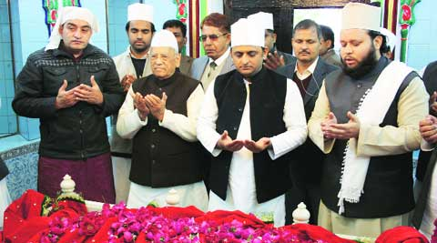 Chief Minister Akhilesh Yadav offers prayer at Dada-Miyan-Ki-Mazar, in Lucknow on Monday. Vishal Srivastav