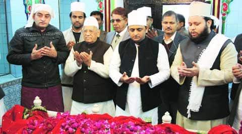 Chief Minister Akhilesh Yadav offers prayer at Dada-Miyan-Ki-Mazar, in Lucknow on Monday. Vishal Srivastav