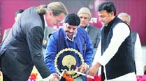 World Bank Country Director Onno Ruhl (left) with Chief Minister Akhilesh Yadav and state irrigation minister Shivpal Yadav at the launch of UPWSR project , in Lucknow Thursday. 	Vishal Srivastav