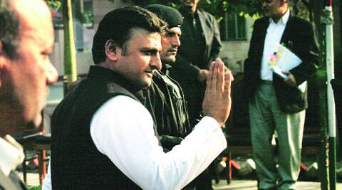 CM Akhilesh Yadav on his way to address a press meet at his official residence in Lucknow, Friday. Vishal Srivastav