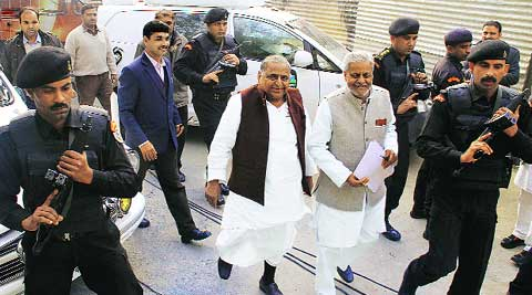 Samajwadi Party chief Mulayam Singh Yadav at party headquarters, Lucknow, Thursday. Vishal Srivastav