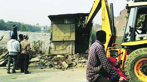 Demolition drive at Sector 32. (Express photo)