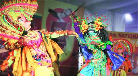 Artistes from Jharkhand perform during the National Youth Festival at PAU campus on Monday. Gurmeet Singh