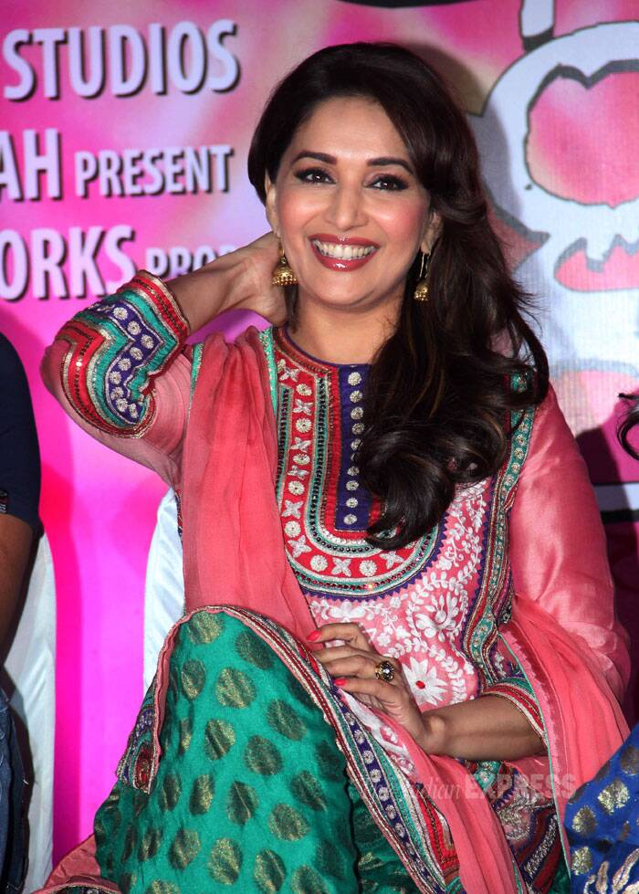 Madhuri Dixit has every reason to smile with her film 'Dedh Ishqiya' getting a positive response from fans. (Photo: Varinder Chawla)
