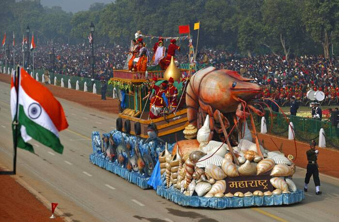 A float of the western Indian state Maharashtra, rolls down Rajpath during the Republic Day parade in New Delhi. (AP)