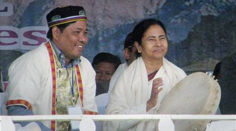 Chief Minister of West Bengal Mamata Banerjee with a Tamang community leader during the 1st Tamang Community National Convention at Mirik. (PTI)