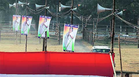 Work in progress ahead of TMC's rally at Brigade Ground Wednesday.