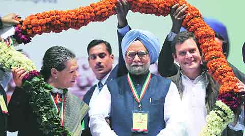 Manmohan Singh, Sonia Gandhi and Rahul Gandhi at the AICC meeting on Friday. Anil Sharma