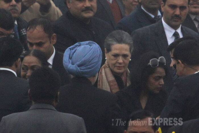 Congress party president Sonia Gandhi at the Republic Day Parade. (IE Photo: Amit Mehra)