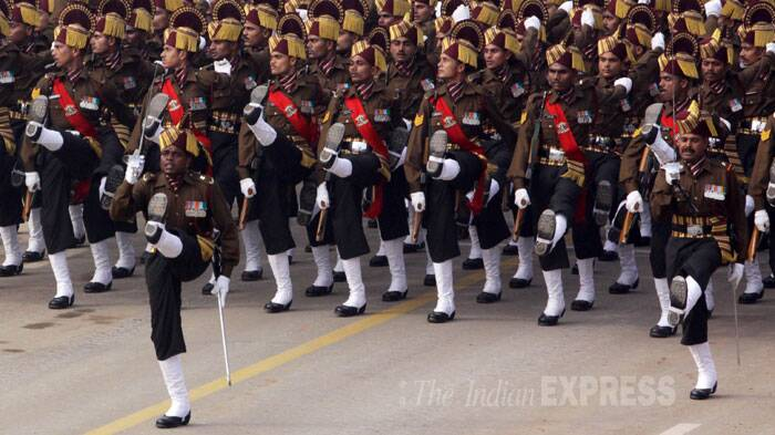 The marching contingents of the army included horse- mounted columns of the 61st Cavalry, the Parachute Regiment, Punjab Regiment, Madras Regiment. (IE Photo: Prem Nath Pandey)