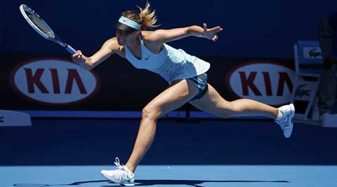 Maria Sharapova of Russia hits a return to Karin Knapp of Italy during their women's singles match at the Australian Open 2014 (Reuters)