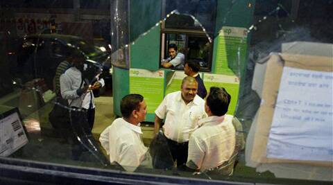 MNS activists vandalised Anand Nagar toll naka of Mulund on Monday. (AP)