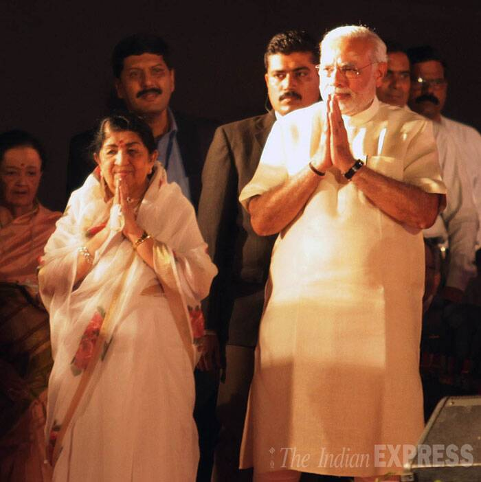 "Narendra Modi later tweeted about the function organized by Shahid Bharti Samiti and Lodha Foundation. ""There couldn't have been a better way to mark 51 yrs of 'Ae Mere Vatan Ke Logon' than witnessing Lata Didi sing parts of the historic song!,"" he posted. (IE Photo: Ganesh Shirsekar)"