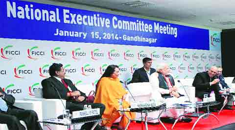 Narendra Modi at the National Executive Committee Meeting of FICCI, in Gandhinagar Wednesday.