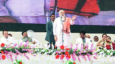 Narendra Modi at the inaugural ceremony of Agri Vision India 2014, at Kagvad in Rajkot Tuesday. (IE)