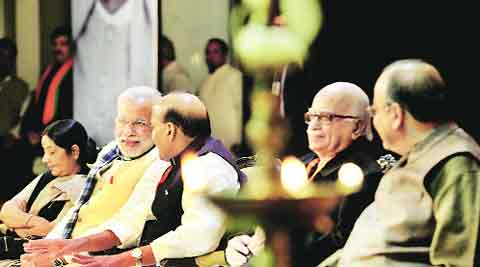 Sushma Swaraj,  Narendra Modi, Rajnath Singh, L K Advani and Arun Jaitley at the BJP's national executive meeting in New Delhi on Friday.  RAVI KANOJIA
