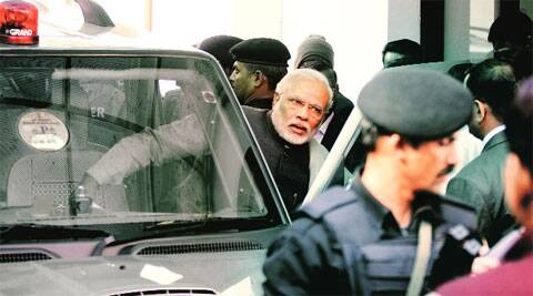 Narendra Modi at the BJP office in Delhi on Saturday. (IE Photo: Praveen Khanna)