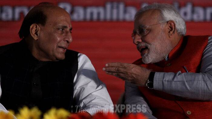 Rajnath Singh hits back at Congress, says it divides on religious lines