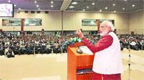 Narendra Modi at the National Education Summit in Gandhinagar Friday. (IE Photo: Javed Raja)