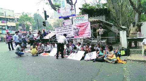 The hunger strike outside Mumbai University's Vidyanagri campus at Kalina on Monday. Express
