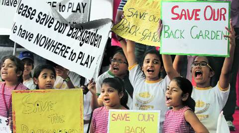 Schoolchildren at the protest. Prashant Nadkar