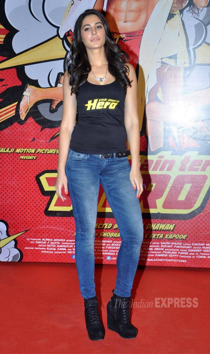Nargis Fakhri, who was last seen in 'Madras Cafe', also wore a tank top with 'Yeh Mera Hero' on the front, blue jeans and high-platformed boots. (Photo: Varinder Chawla)
