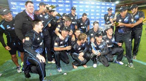 New Zealand cricket players celebrate their series' victory over India during the fifth one day International cricket match at Westpac Stadium in Wellington, New Zealand (AP)