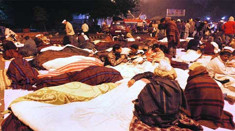 AAP workers outside Rail Bhawan on Monday night.