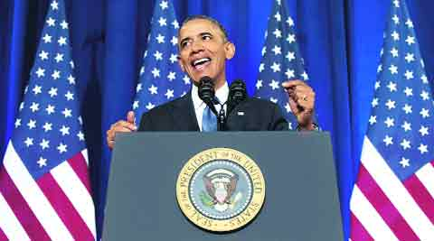 President Obama talks about NSA surveillance Friday at the Justice Department in Washington. 	AP