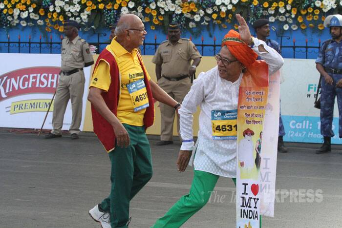 Thats the spirit! Senior citizens of the city run for a cause happily. (IE Photo: Deepak Joshi)