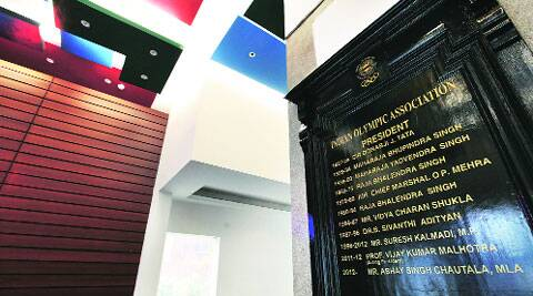 A plaque at the Indian Olympic Association Bhawan in New Delhi shows Abhay Singh Chautala as the president. (IE Photo: Ravi Kanojia)
