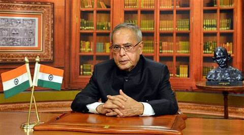 President Pranab Mukherjee addressing the nation on the eve of 65th Republic Day Celebrations at Rashtrapati Bhavan. (PTI)