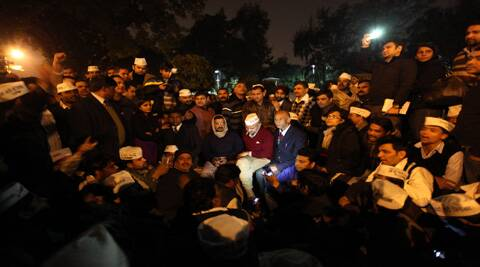 Delhi CM Arvind Kejriwal sit on dharna against Delhi police, near Rail bhawan in New Delhi on Jan20th 2014. Express photo by Ravi Kanojia.