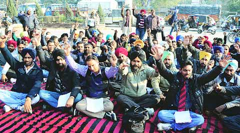During the protest in Ludhiana on Friday. (IE photo: Gurmeet Singh)