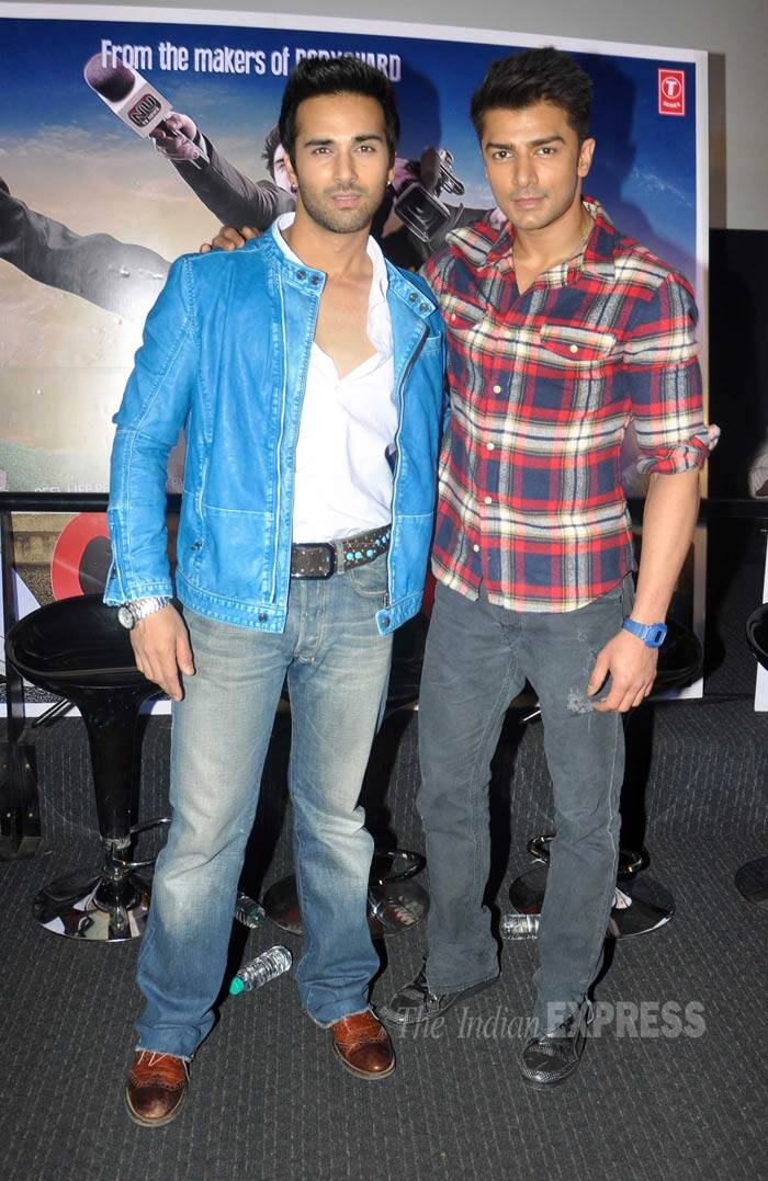 Film's lead actor Pulkit Samrat, who was last seen in 'Fukrey', poses for the cameras along with co-actor and newcomer Bilal Amrohi. (Photo: Varinder Chawla)