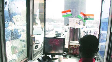 Party activists vandalised Urse toll plaza on Sunday night.